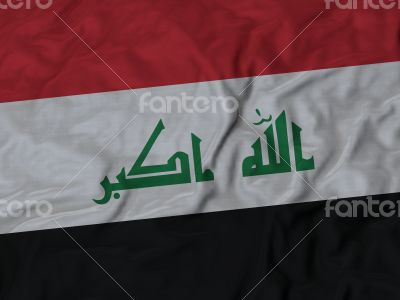 Close up of Ruffled Iraq flag