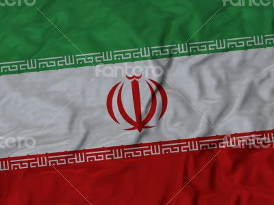 Close up of Ruffled Iran flag