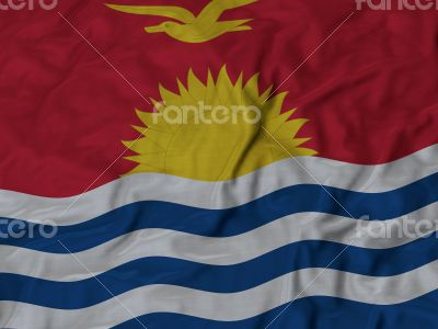 Close up of Ruffled Kiribati flag