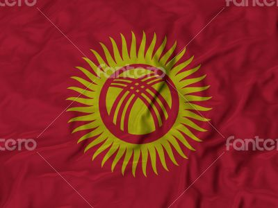 Close up of Ruffled Kyrgyzstan flag