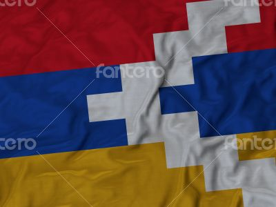 Close up of Ruffled Nagorno-Karabakh flag