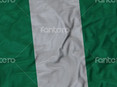 Close up of Ruffled Nigeria flag