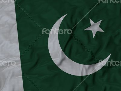 Close up of Ruffled Pakistan flag