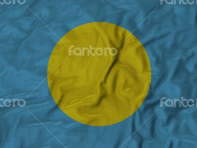Close up of Ruffled Palau flag