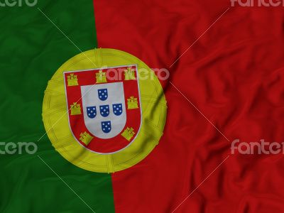 Close up of Ruffled Portugal flag