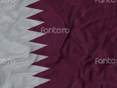 Close up of Ruffled Qatar flag