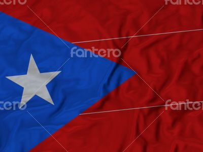 Close up of Ruffled Puerto Rico flag