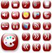 Ruby Red Icons, Digital Media Art Set