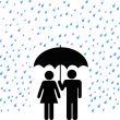 Secure Umbrella Couple Rain