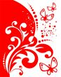 Red decor and butterflies