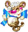 The cheerful leopard with a dark blue bow.