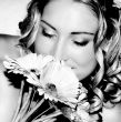 Wedding Bride smelling her flowers