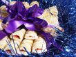 close-up cookies with violet bow