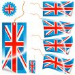 United Kingdom flag modern tags and sticker