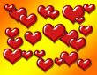 Heart Background on Orange and Yellow Gradient