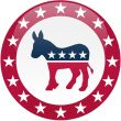 Democrat Button - White and Red