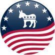 Democrat Button - Waving Flag