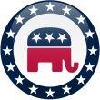 Republican Button - White and Blue