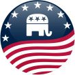 Republican Button - Waving Flag