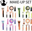make-up set - icons brushes, pencil, lipstick, gloss, shadow, po