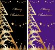 2 Vector Gold and color christmas card with new year tree and st