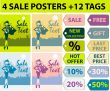 4 Sale posters & 12 tag set, woman shopping in the city, backgro