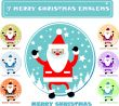 7 merry christmas emblems, sticker, banner,tag, icon. fake paper