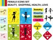 Abstract Beauty, Love, Health, Shopping woman icons set. Fake co