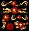 set of golden ribbons with heraldic seales