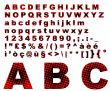 Dots fantasy alphabet - red