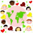 Map of the world , faces of children of different races and hearts