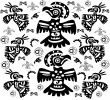 The original black-and-white background with birds tattoos