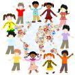 Happy children of different races around the world